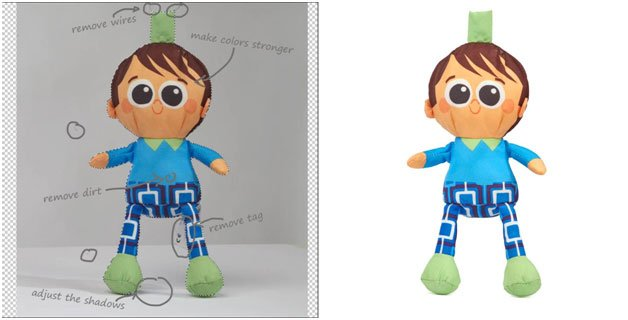 pinocchio toy image clipping path before and after