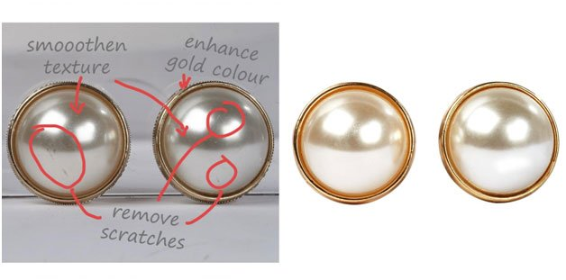 pearl earrings image clipping path before and after