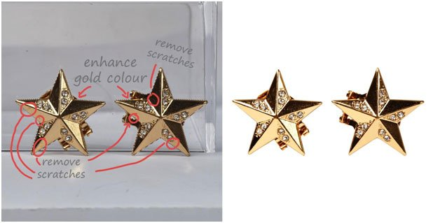star earrings image clipping before and after
