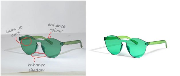 sunglasses image clipping before and after