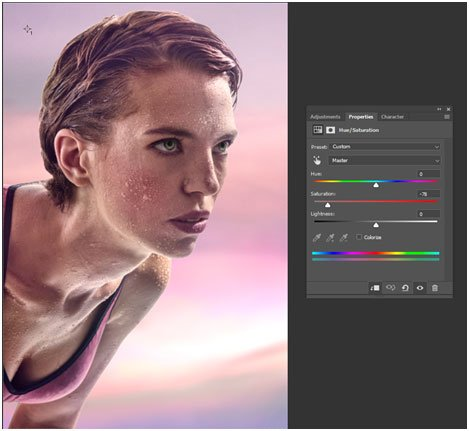 sunset color mixing in the image using photoshop