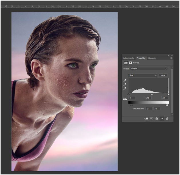 color grading using the levels tool in photoshop