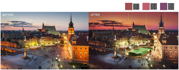 color correction for a plaza's image before and after