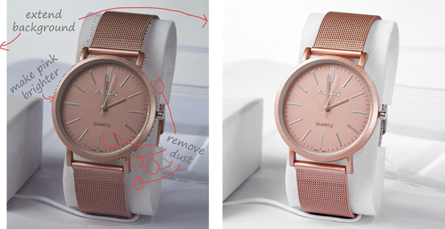aldo watch product retouching