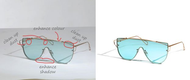 sunglasses product photo editing