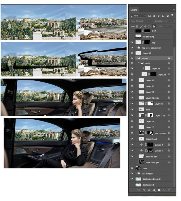 layers composition for the image using photoshop