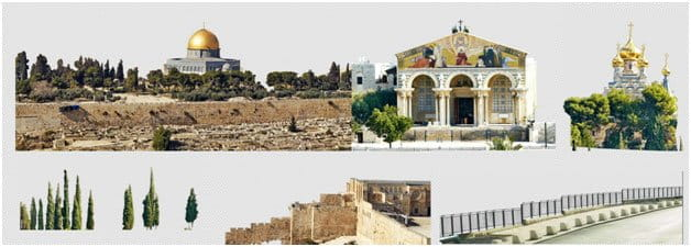 cutouts and clipping paths of each Jerusalem building