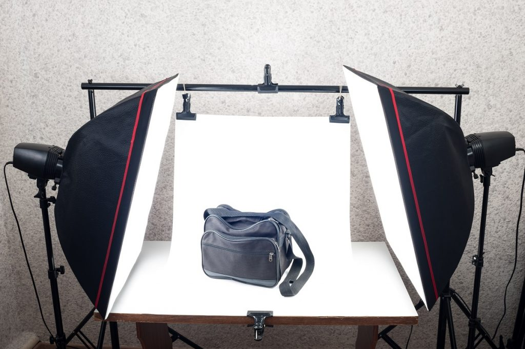 Black bag in a photo shoot