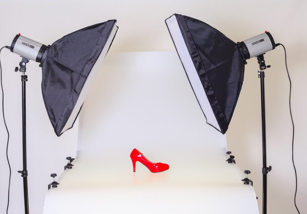 Red heel in a photoshoot