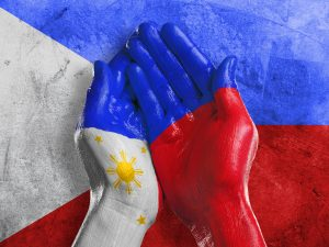 philippines Hand Cupped - Flag BG